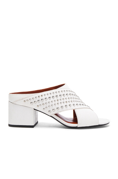 Crisscross Leather Cube Open Toe Slip Ons