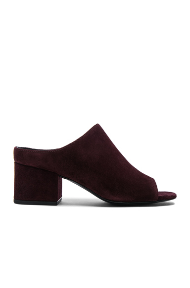 Suede Cube Open Toe Slip Ons