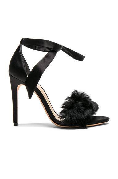 Satin Clarita Rabbit Fur Heels