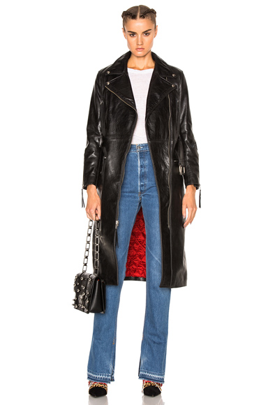 Leather Moto Trench