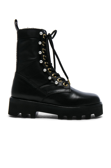 Leather Cosmo Ankle Combat Boots