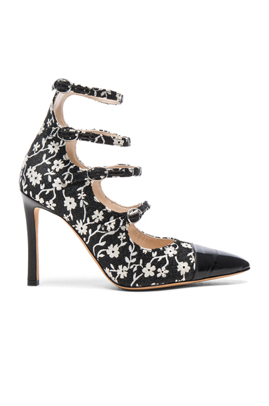 Isabella Multi Strap Mary Jane Heels en Black & Natural White