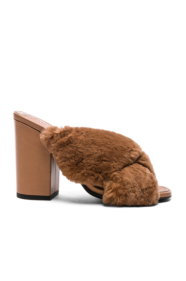 Rabbit Fur X Slide Block Heels