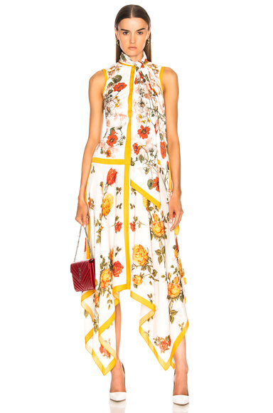 Scarf Print Handkerchief Hem Dress