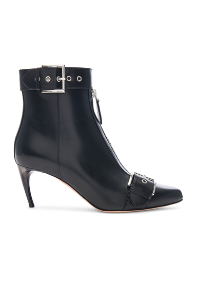 Ankle Strap Leather Booties