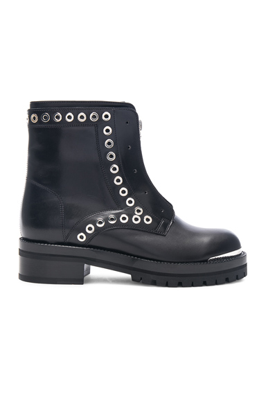 Eyelet Zip Up Leather Boots