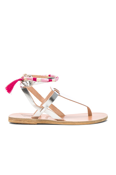 x Lemlem Metallic Leather Estia Wrap Sandals