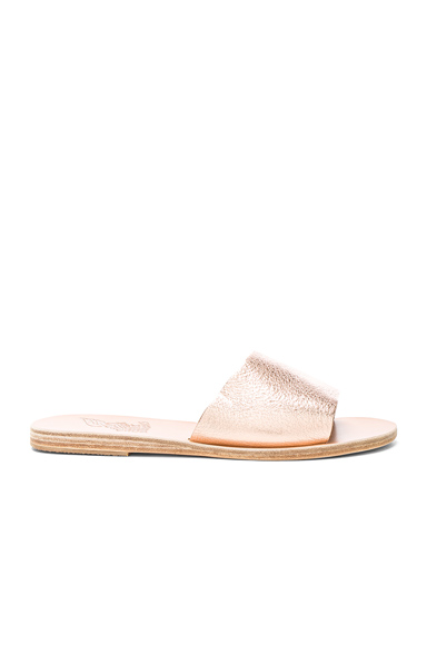 Grained Metallic Leather Taygete Sandals