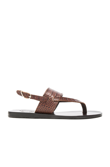 Croc Embossed Leather Zoe Sandals