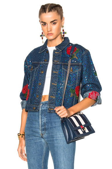 Denim Jacket with Rose Embroidery