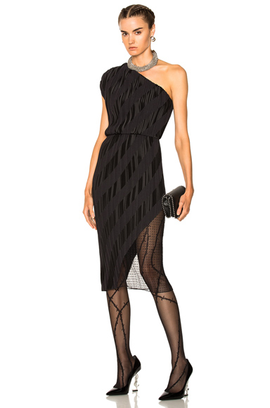 Pleated One Shoulder Paneled Dress