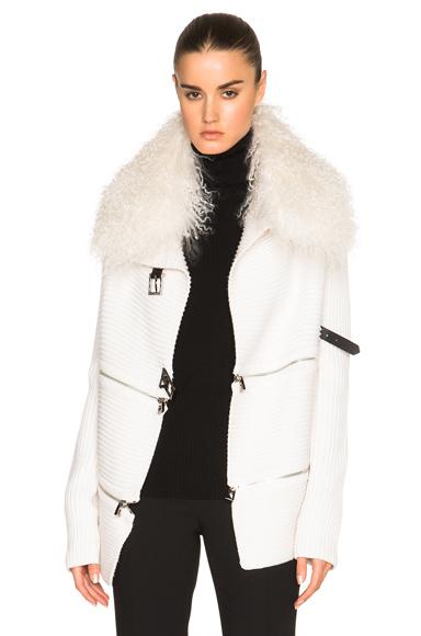 Zip Cardigan with Mongolian Lamb Fur Collar