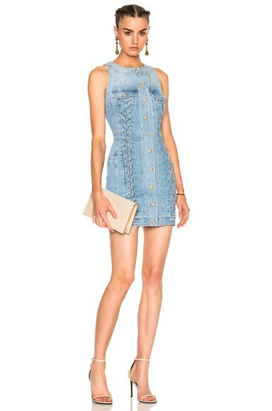 Lace Up Denim Mini Dress