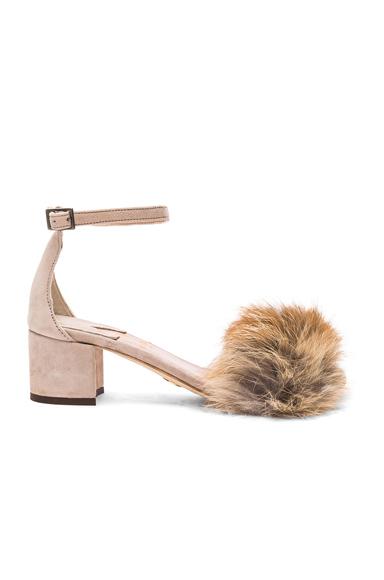 for FWRD Dhara Tufted Fox Fur Sandals