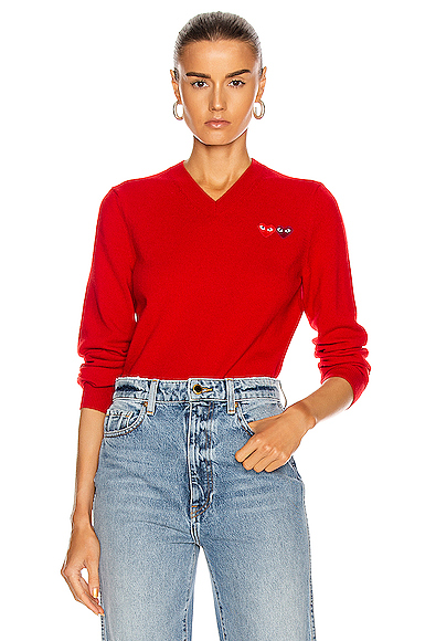Double Emblem V Neck Sweater