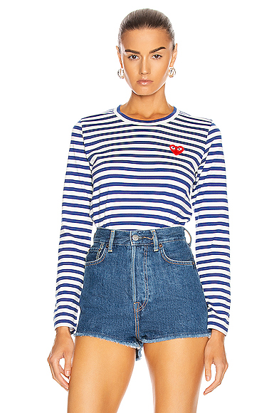 Striped Cotton Red Heart Tee