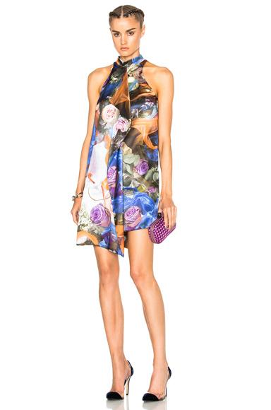 Printed Front Drape Dress