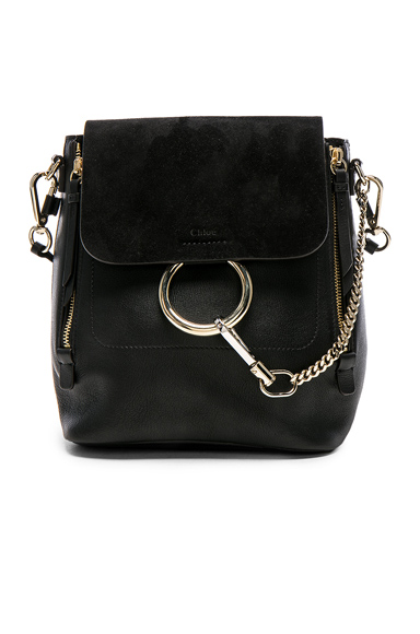 Small Faye Leather & Suede Backpack