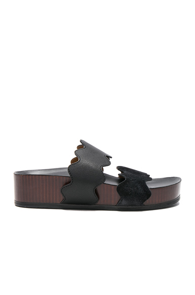 Lauren Leather & Suede Slides