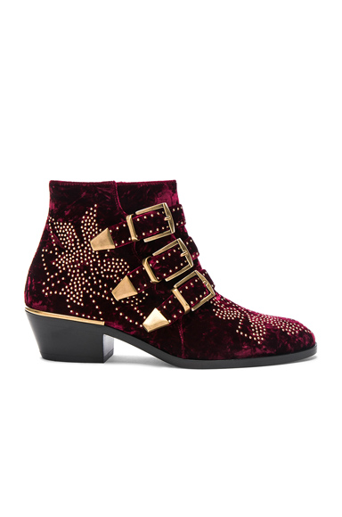 Studded Textured Velvet  Susanna Booties