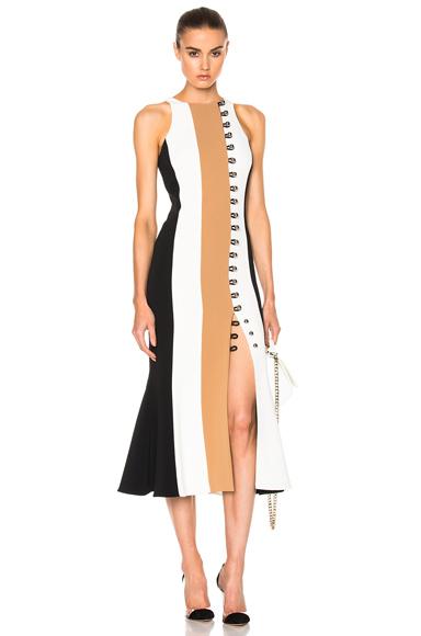 Loops & Metal Front Detail Paneled Tea Dress