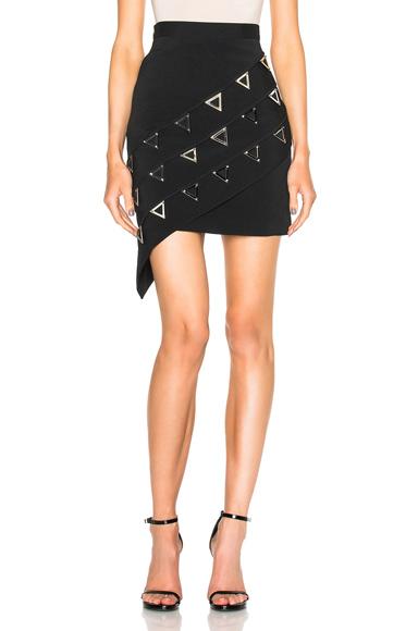 Asymmetric Metal Embroidered Skirt