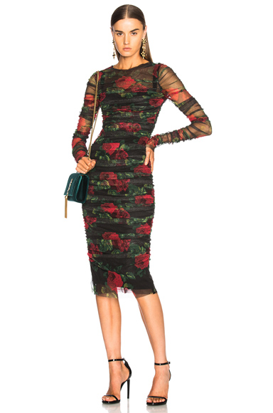 Rose Print Tulle Ruched Dress