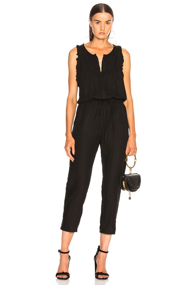Linen Sleeveless Ruffle Jumpsuit