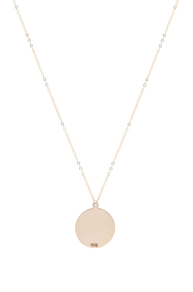 14K Gold Large Plate Necklace