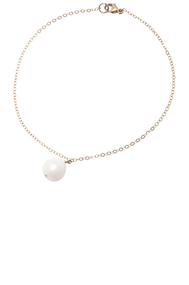 14K Gold Pearl Drop Anklet with Diamond