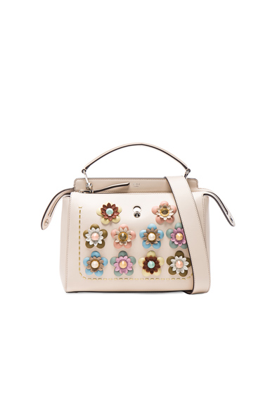 Flower Embellished Dotcom Bag