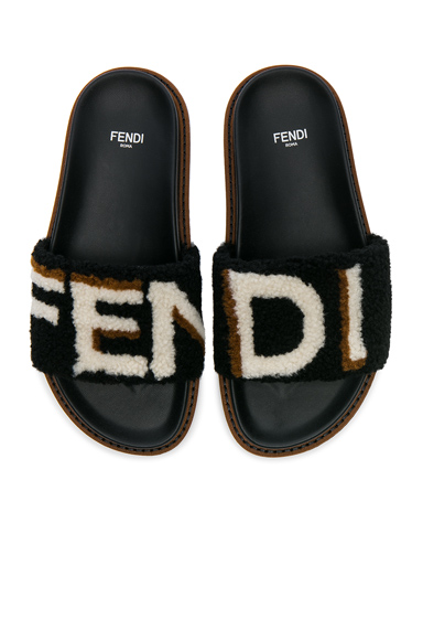 Stripy Shearling Sandals