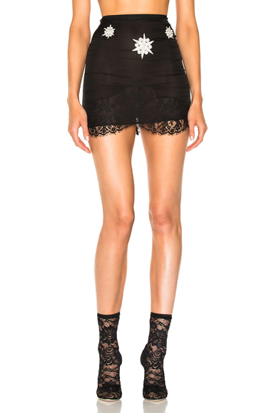 Embellished Lace Trim Skirt
