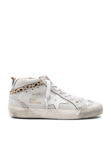 Leather Mid Star Sneakers With Cow Hair