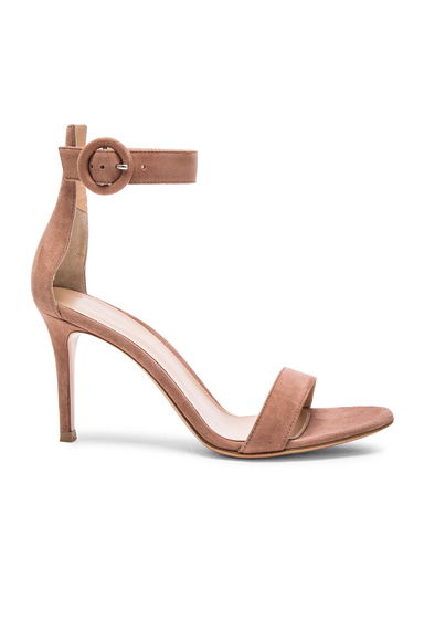 Portofino 麂皮高跟鞋 – 果仁糖色
