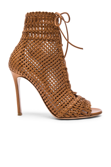 Woven Leather Booties