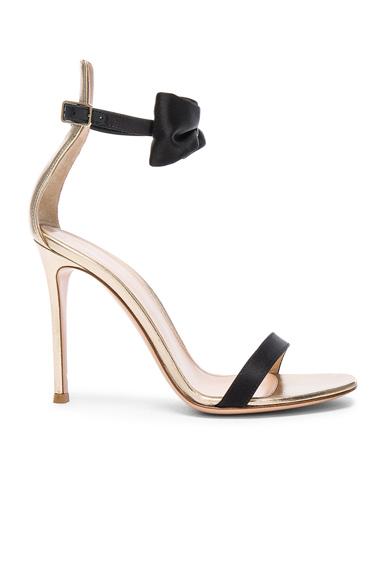 Satin & Leather Bow Portofino Heels