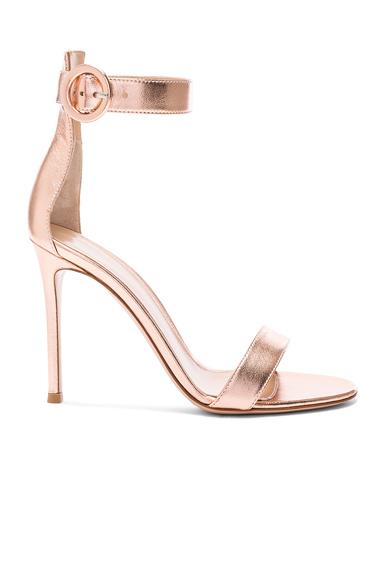 Metallic Leather Ankle Strap Heels