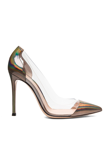 Metallic Leather Plexi Pumps