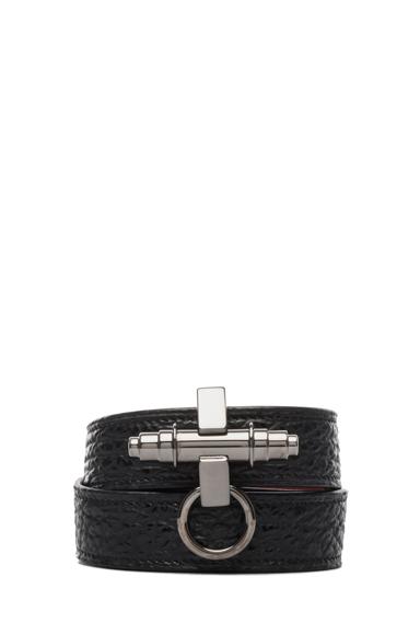 Shark Effect Leather Wrap Bracelet