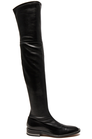 Stretch Leather Over The Knee Boots