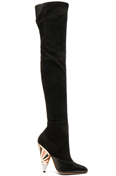Multicolor Heel Suede Over the Knee Boots