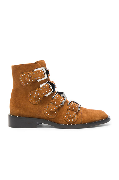 Elegant Studded Suede Ankle Boots in Caramel
