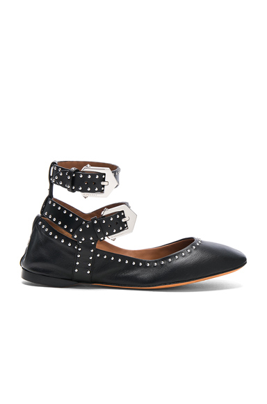 Studded Ankle Strap Leather Ballerina Flats