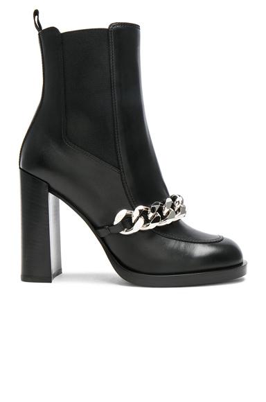 Semi Shiny Chain Leather Chelsea Boots