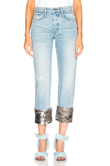 Sequin Helena High Rise Straight