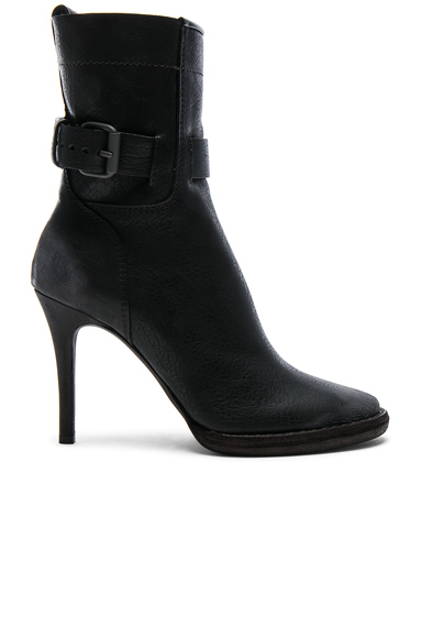 Buckle Leather High Heel Boots