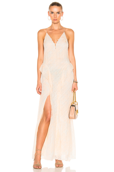 Silk Tie Dye Deep V Ruffle Gown