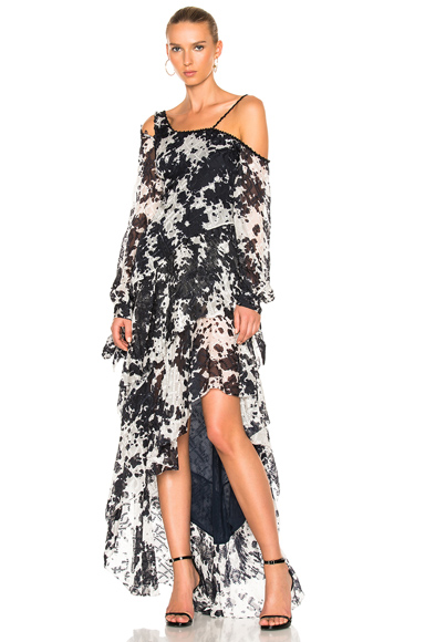 Silk Tie Dye One Shoulder Gown