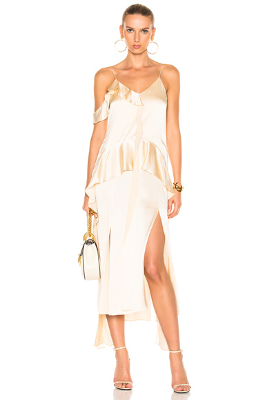 Silk Ruffle One Shoulder Ruffle Midi Dress
